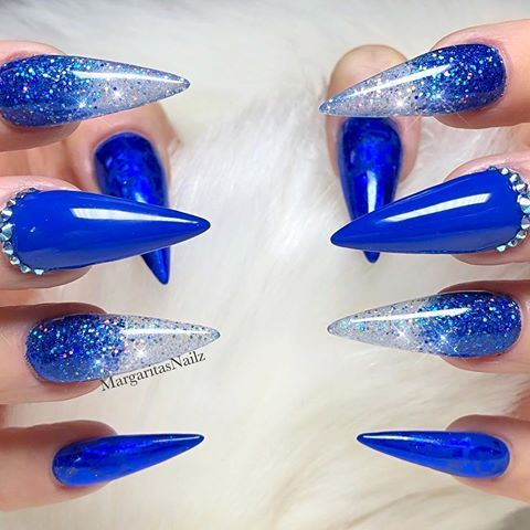 royal blue ombré glitter almond nails margaritasnailz