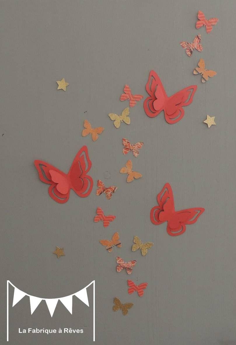 Dispo 25 Stickers Papillons Corail Abricot P Che Gris Et Dor