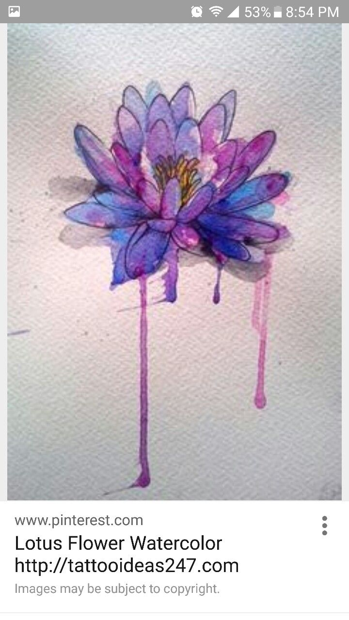 Purple And Blue Watercolor Lotus Flower Watercolor Art
