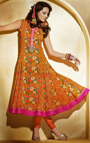 Picture of Unique Orange and Salmon Fashion Designer Salwar Suit