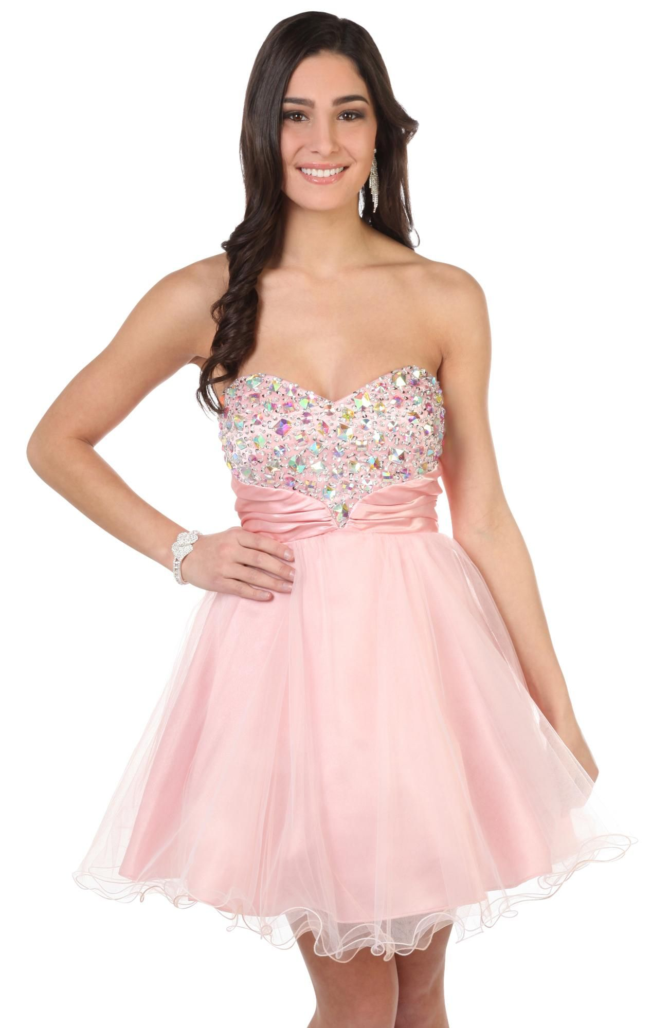 HERE IT IS! chunky stone two tone mesh strapless party dress   4 ...