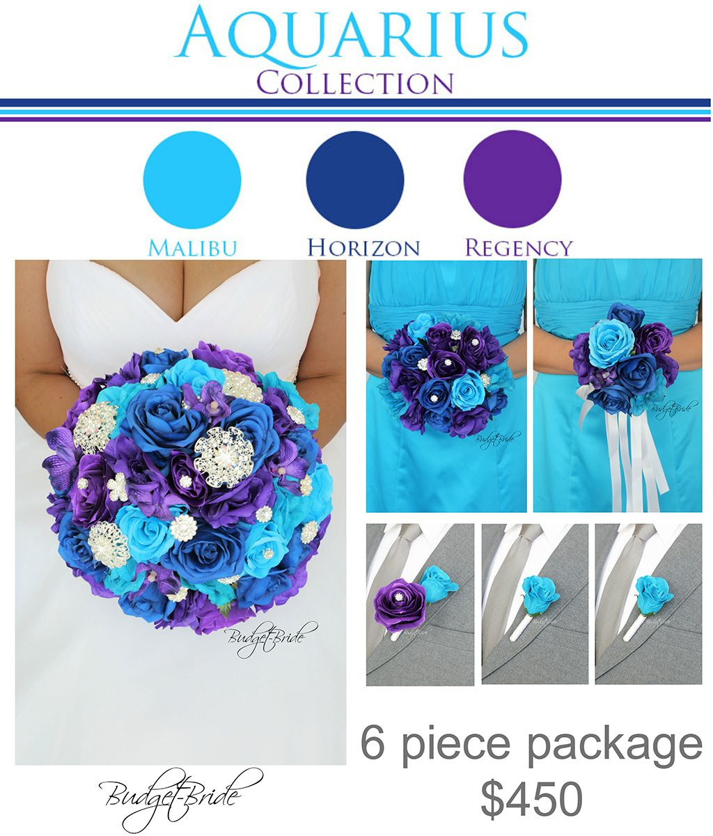 Malibu Davids Bridal Wedding Flowers horizon blue purple brooch ...