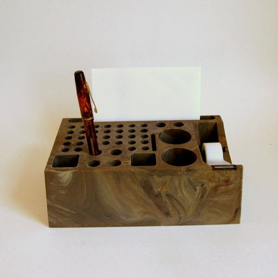 Vintage Desk Organizer Plastic Pen Holder Caddy Organizer Tape