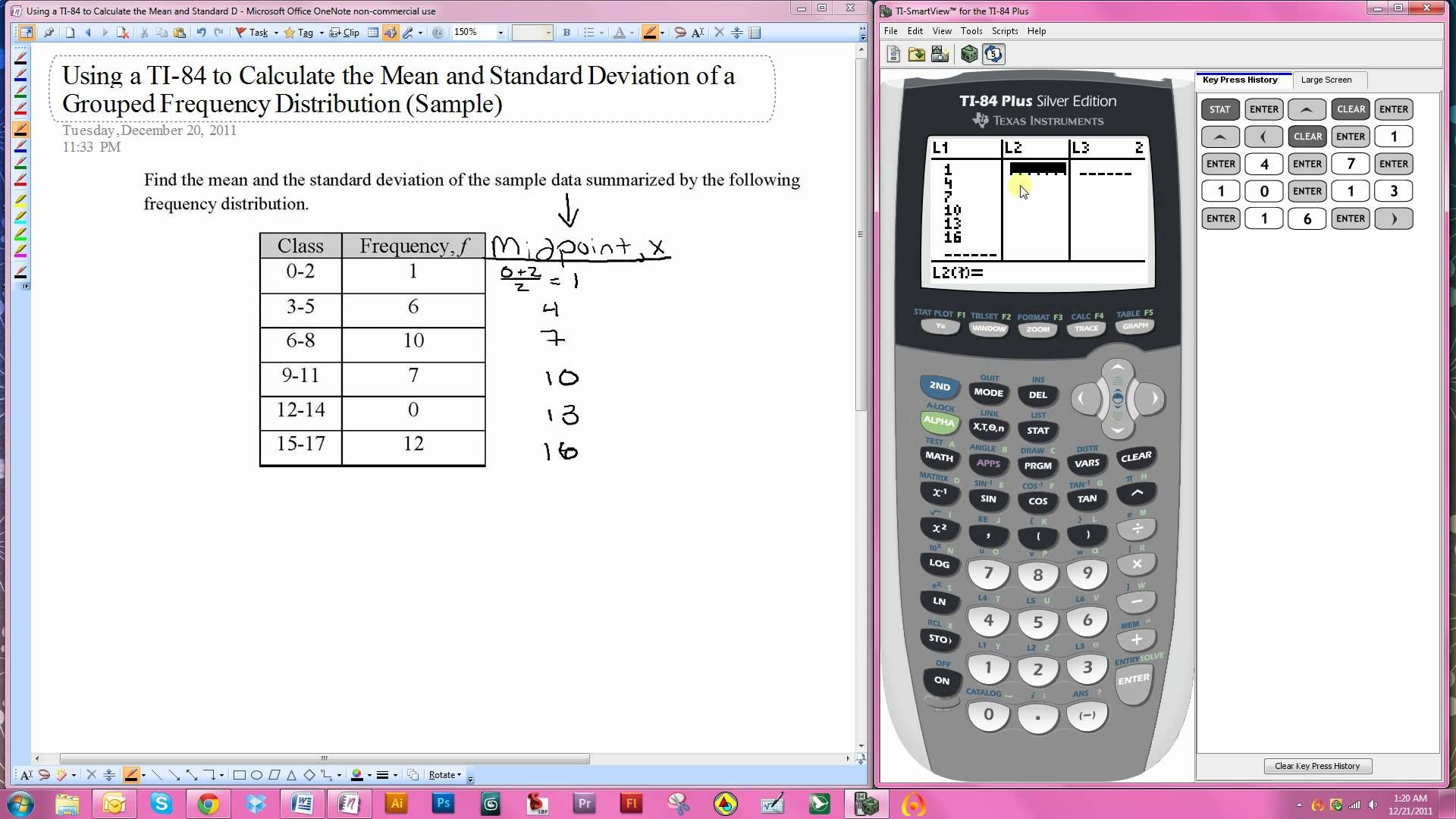 Using A Ti 84 To Calculate The Mean And Standard Deviation Of A Grouped Frequency Distribution