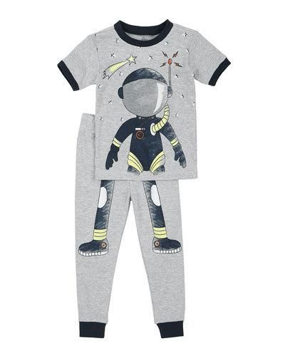 Astronaut Top & Pants Pajama Set, Gray, Size 12-24M