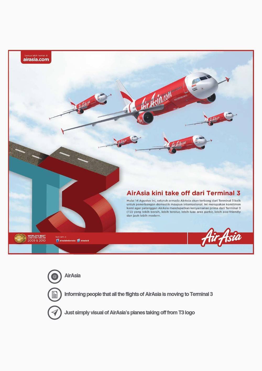 AirAsia's Print Ad Informing people that all the flights of