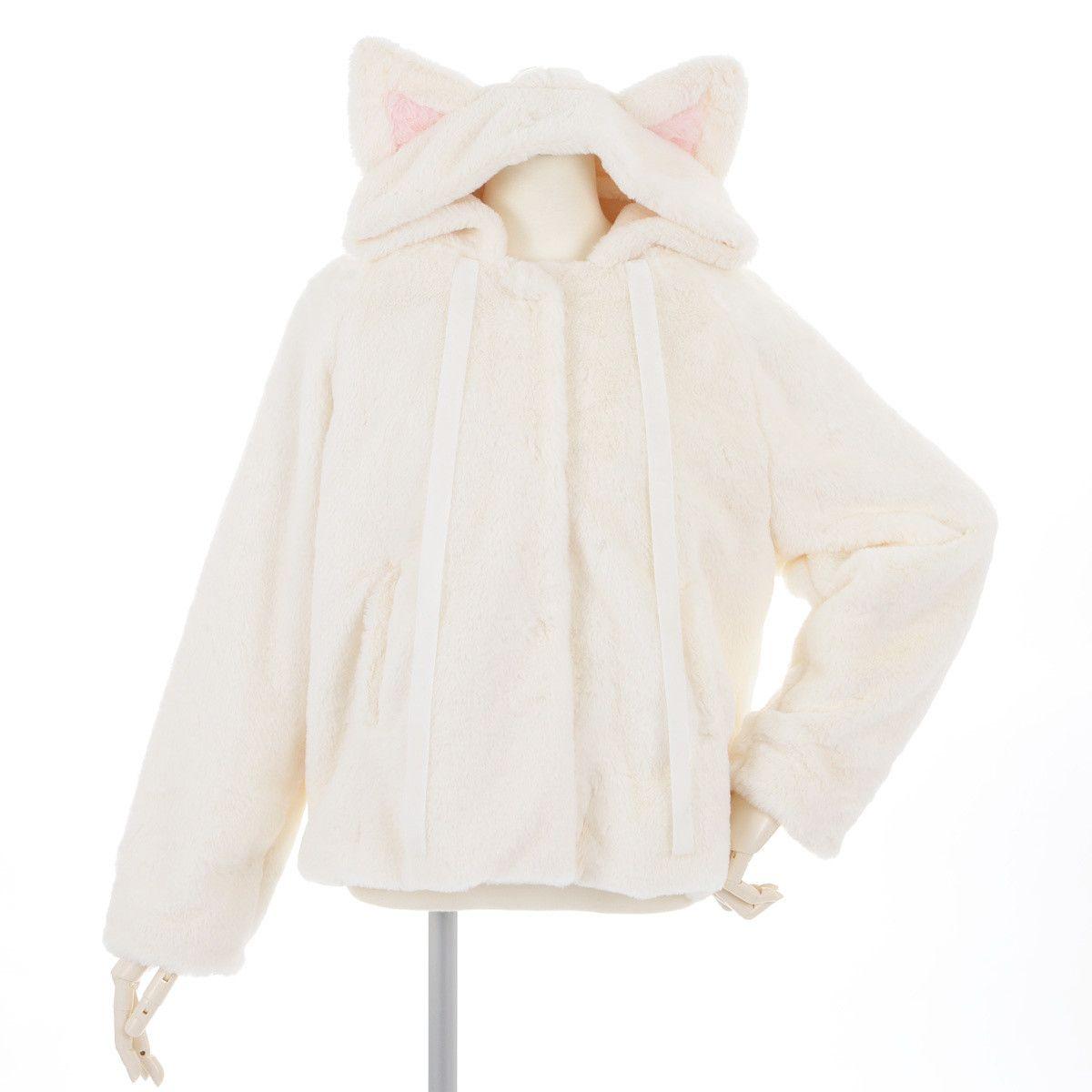 HOT Kawaii Pink Girl Thick Hoodies Cute Cat Pullover Fuzzy Fleece Sweatshirt Cute Ear Long Sleeve Causal Hoodie Warm Soft Full Top