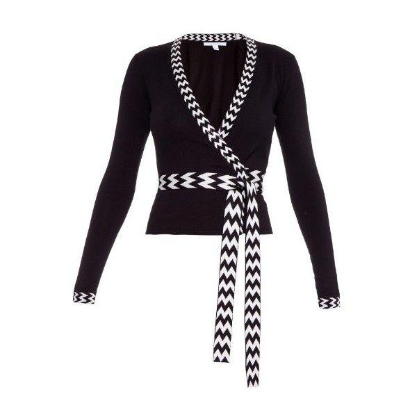 Diane Von Furstenberg Ballerina wrap cardigan (£285) ❤ liked on Polyvore featuring tops, cardigans, black white, ballet wrap cardigan, wrap front top, beaded top, wrap front cardigan and chevron print tops