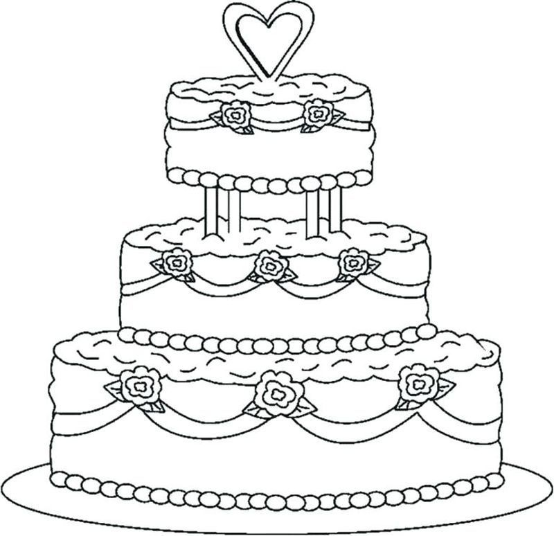 Birthday Cake Coloring Pages Wedding Coloring Pages Wedding