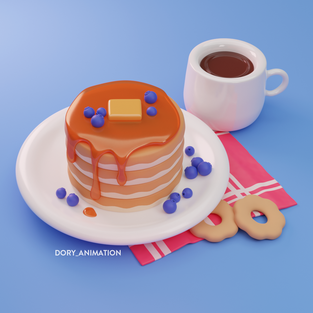 3D model of a pancake made with Blender. #blender #3dmodel #3dfood #food #art #pancake #cookie #chocolate #dessert