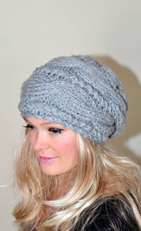 4bc53287c04 Women Hat Slouchy Beanie Slouch Hat Oversized Cabled Braided Hand Knit  Women Hat Wool CHOOSE COLOR Light Gray Grey Cloud Chunky Gift