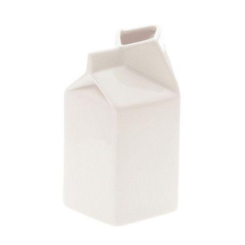 White Ceramic Milk Carton Vase Milk Carton Modern Serveware White Ceramics