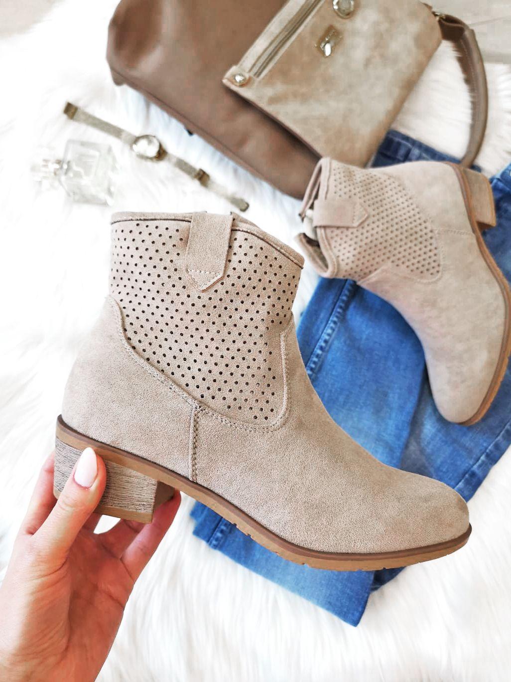 Bezowe Botki Damskie Na Wiosne Dbt1476 Suzana Pl Shoes Womens Fashion Boots