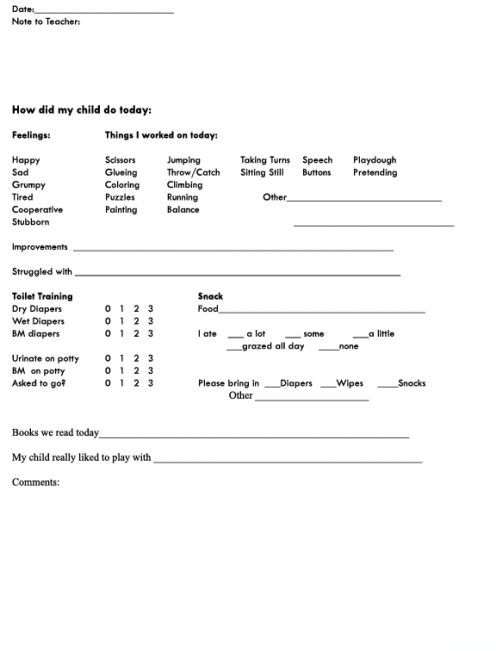 Parent-Teacher Communication Sheet for Preschoolers Paper size - progress report template for students