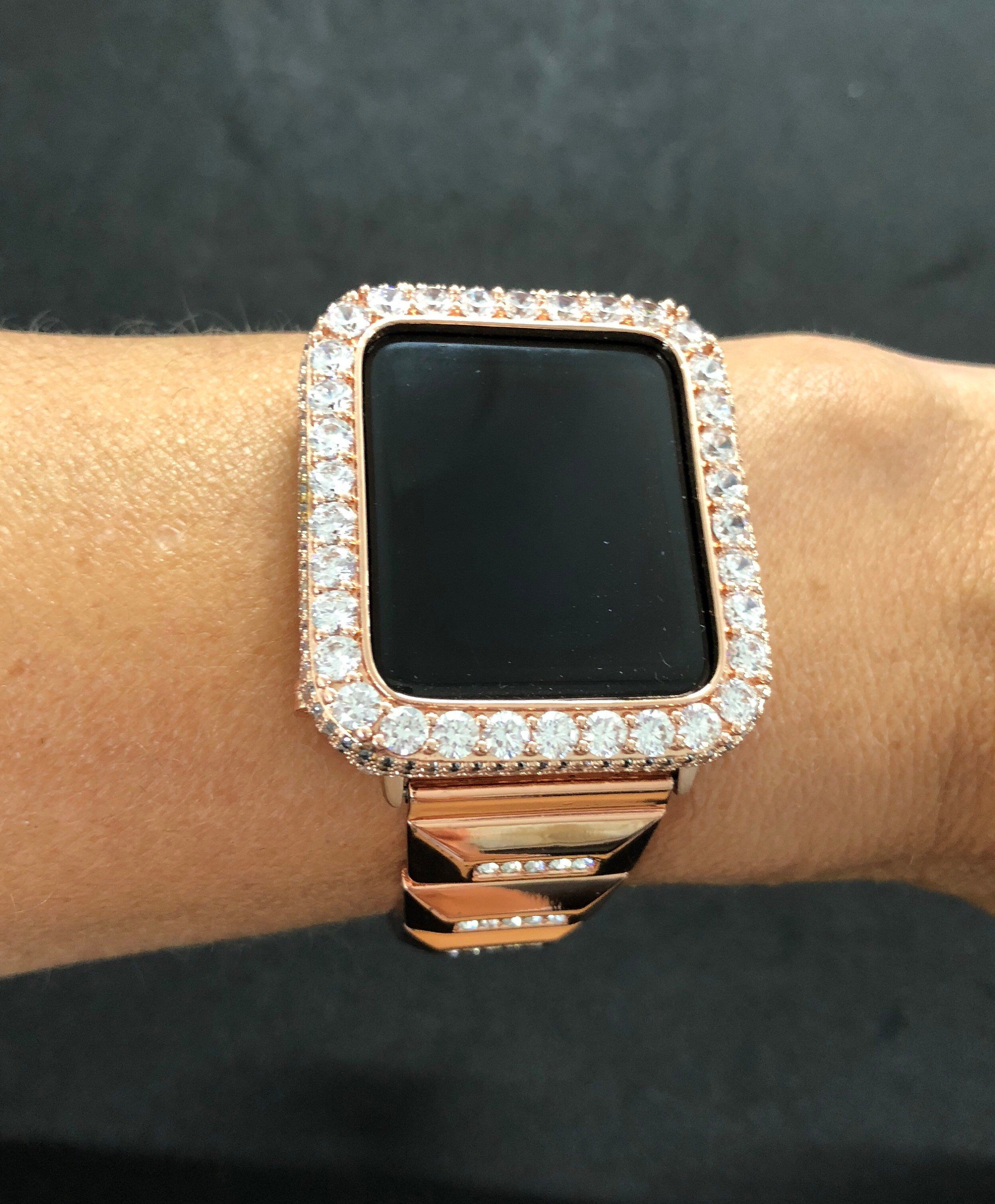 Apple Watch 38mm 42mm Womens Mens Bezel Case Cover Series 2 3 Rose Gold Iced Out Pave 2mm Lab Di Rose Gold Apple Watch Apple Watch Bands Women Gold Apple Watch