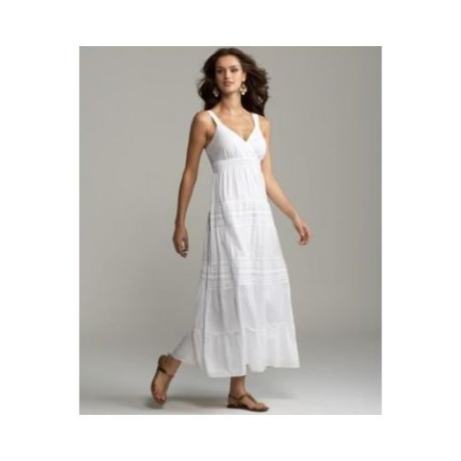 white linen dresses casual beach | Long white maxi summer casual ...