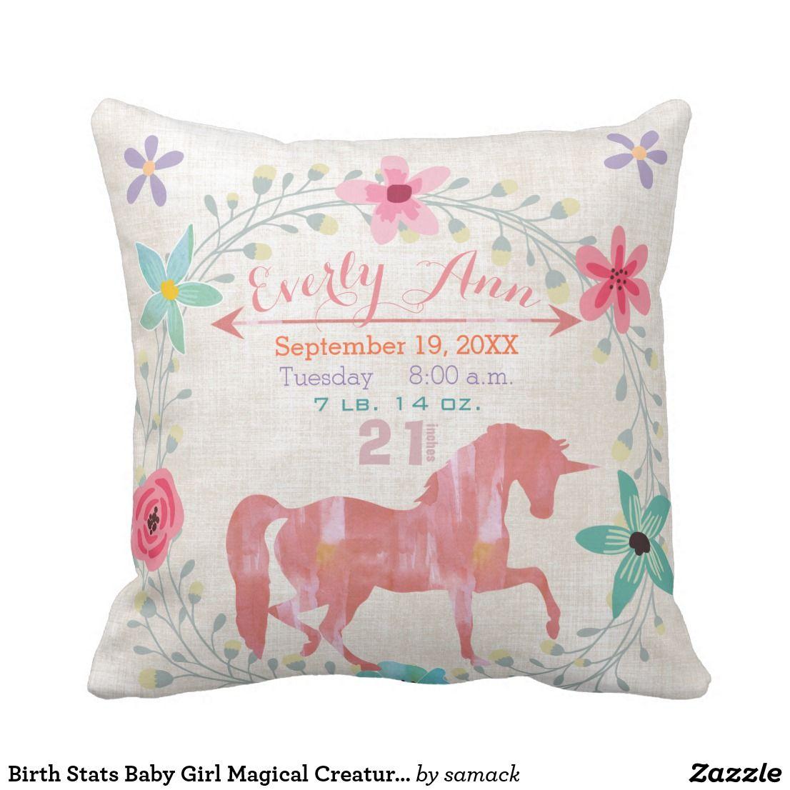 Birth stats baby girl magical creatures unicorn throw pillow throw