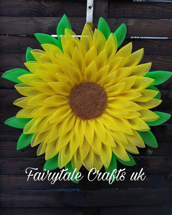 Photo of Beautiful sunflower wreath / door hanger in deco mesh full leaves