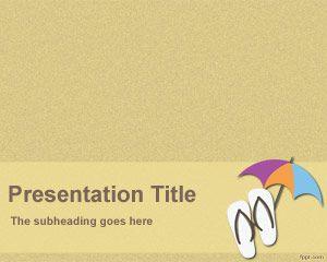 PowerPoint de Vacaciones es un fondo de PowerPoint para presentaciones de playa o donde se necesite tener un fondo de sombrilla con efecto de arena