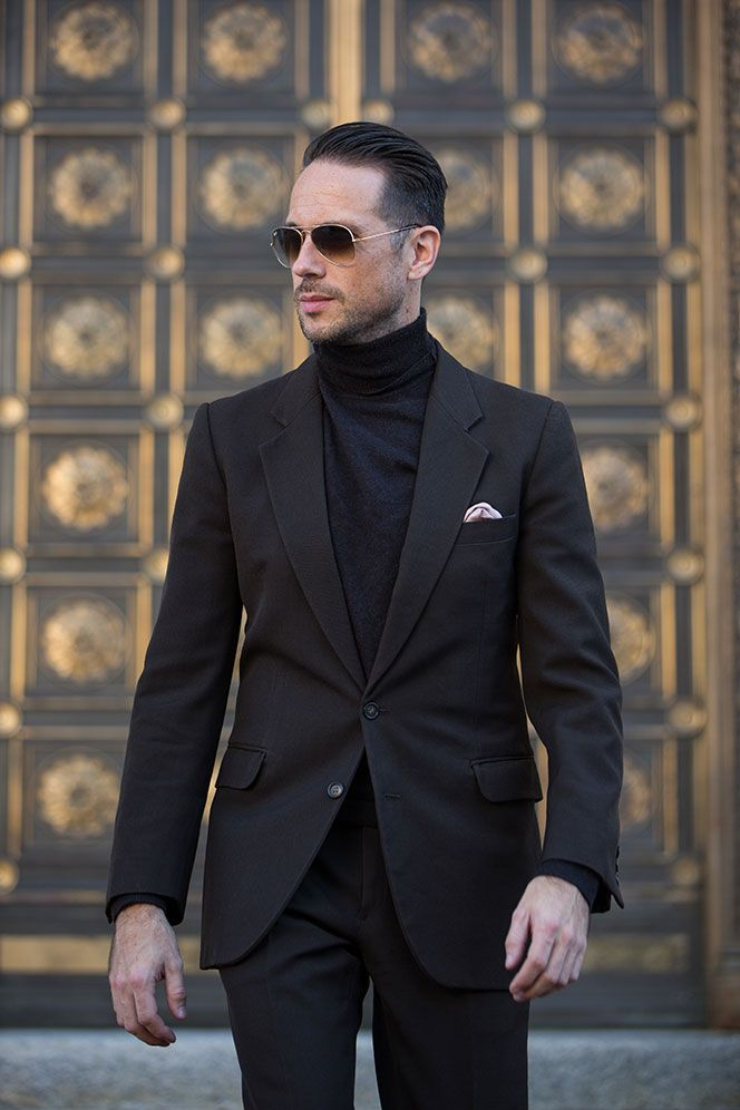 Monochrome: Dark Brown Suit with Layered Turtleneck Sweater - He ...