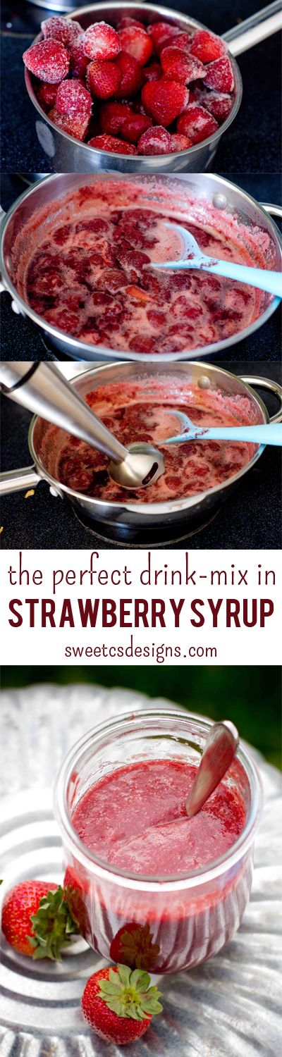Make the best summer drinks in an instant- just stir in some of this amazing strawberry simple syrup! Such a great idea to keep on hand for summer drinks at sweetcsdesigns.com #summersippers #strawberry