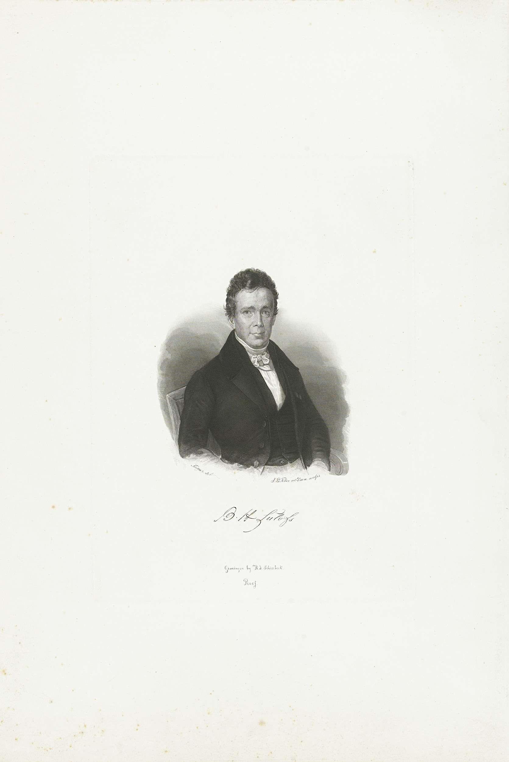 Jan Baptist Tetar van Elven   Portret van B.H. Lulofs, Jan Baptist Tetar van Elven, Roelof Jacob Schierbeek, 1815 - 1889   Portret van de schrijver, dichter en hoogleraar te Groningen B. H. Lulofs (1787-1849), afgebeeld ten halven lijve zittend in een stoel.