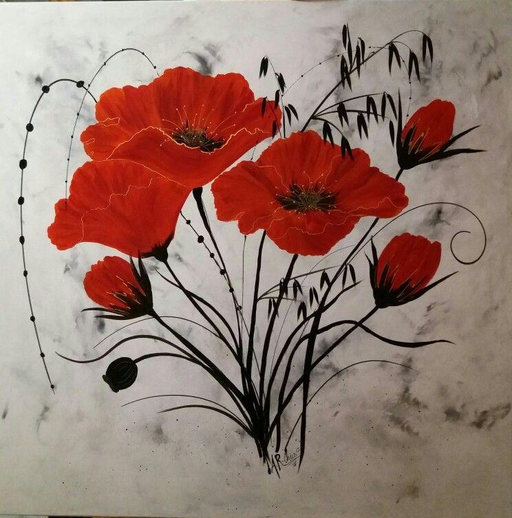 tableau coquelicots peinture acrylique sur toile 90x90 peint par raffin christine 2017 peintures de fleurs abstraites peinture fleurs coquelicots peinture