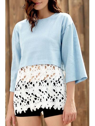 Round Neck Three Quarter Sleeve Combined Lace Spring Top #womensfashion #pinterestfashion #buy #fun#fashion