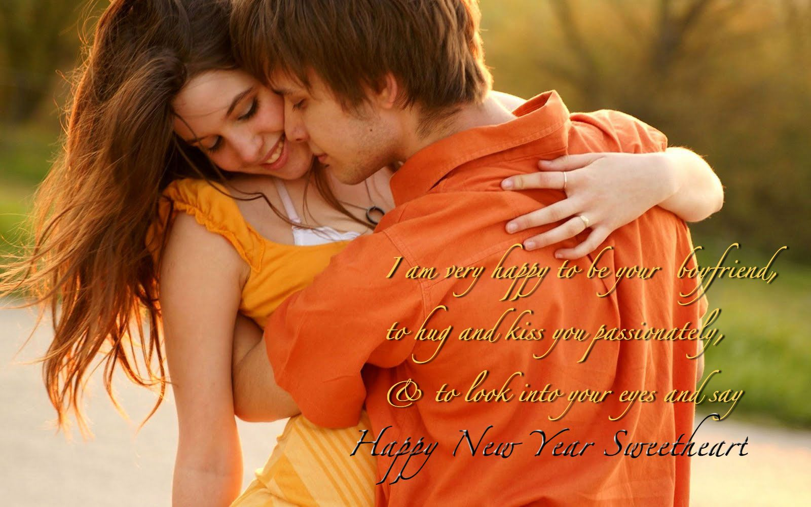 Romantic New Year Greeting Wallpaper in 2019  Love couple