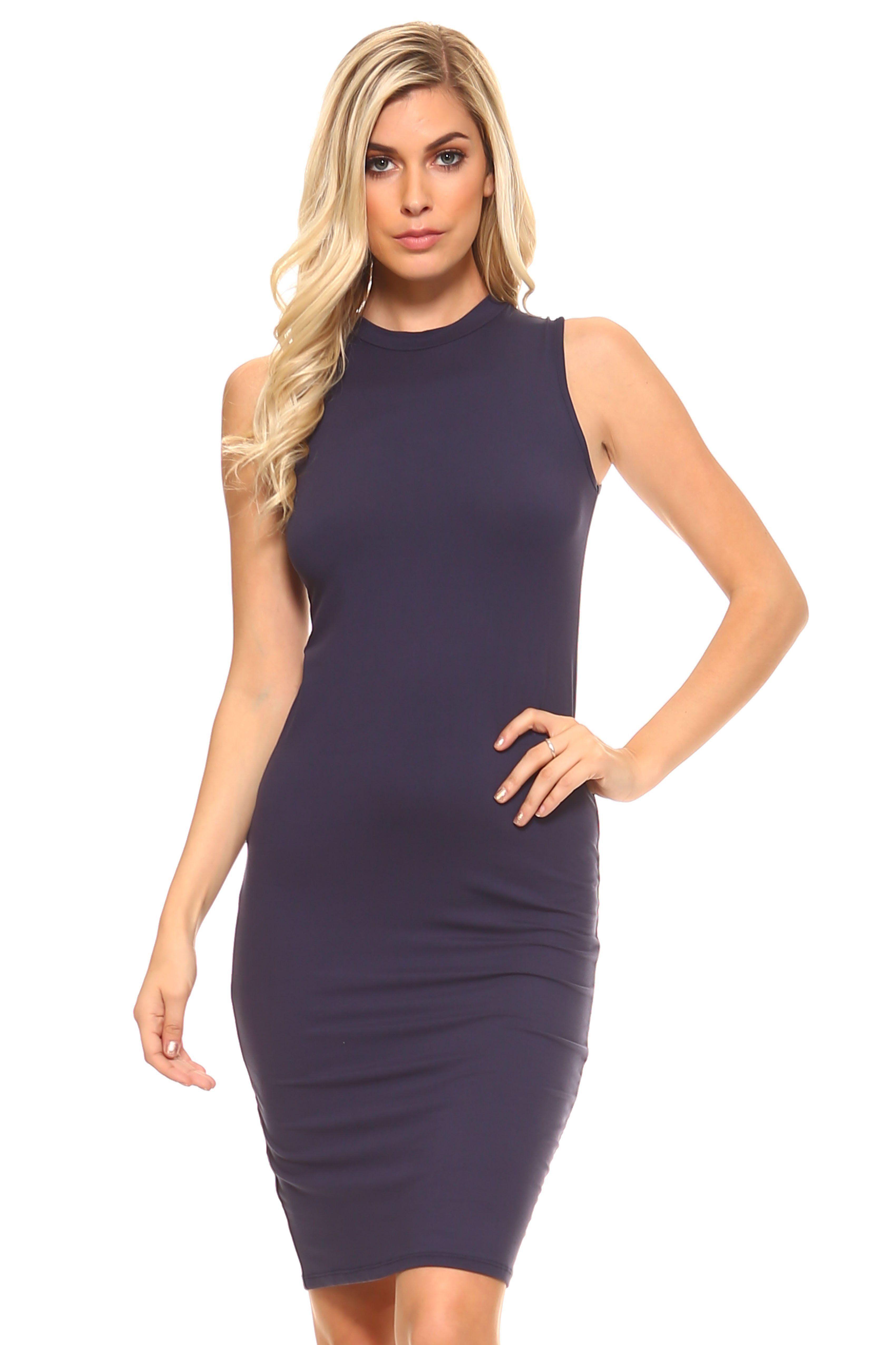 506f1472a2967 Women's High Neck Sleeveless Dress | Women's Jackets Hoodies ...