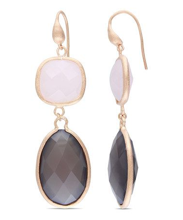 Rose Quartz & Gray Agate Drop Earrings by Sofia B