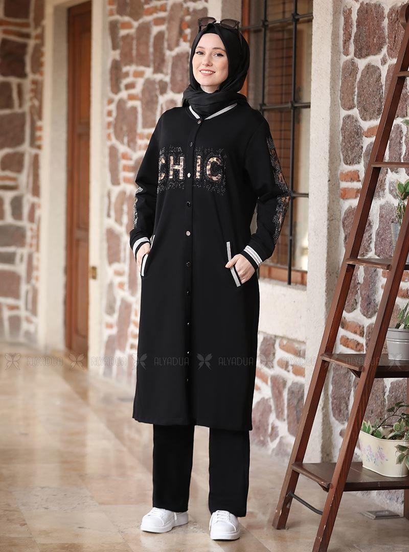 Siyah Tasli Esofman Takim Adc14631 Alyadua Siyah Mankenler Giyim