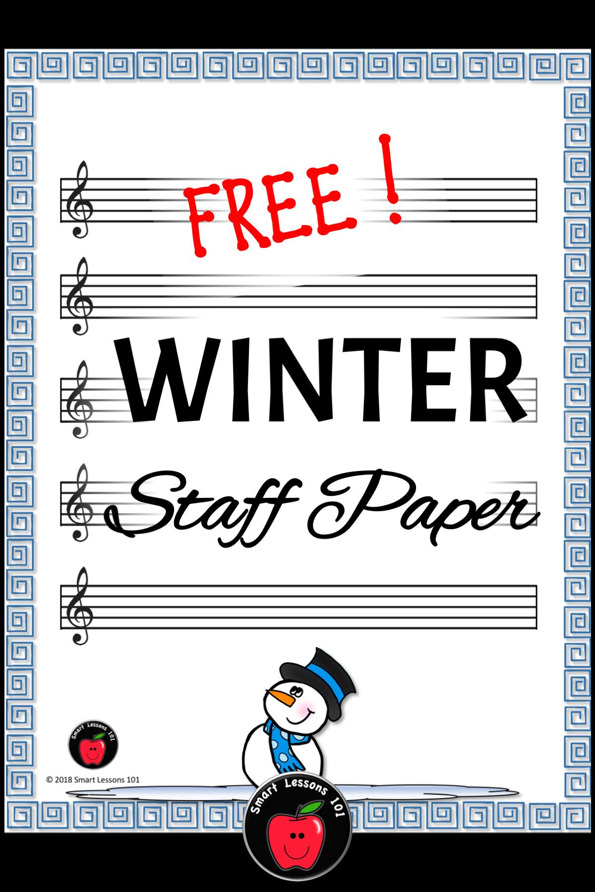 Winter Music Worksheets Winter Staff Paper Free Treble