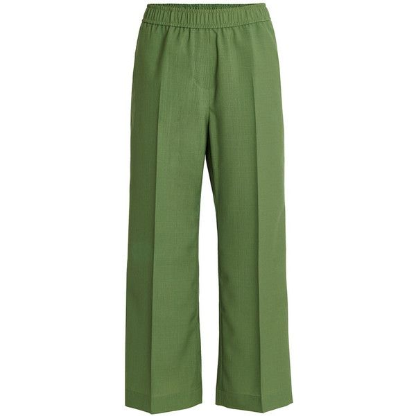 Womens Designer Printed or Plain Trousers   Graziashop.com ❤ liked on Polyvore featuring pants, green pants and green trousers