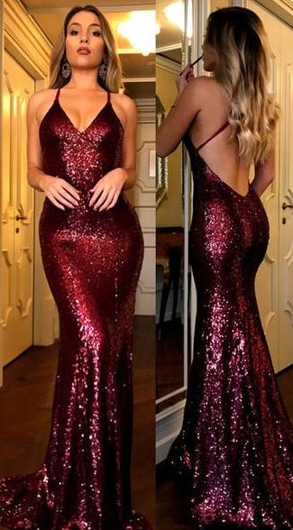 Prickelnde Pailletten Meerjungfrau Burgund langen Abendkleid   – Grad dresses