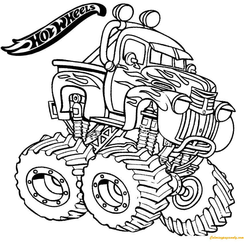 Monster Truck Hot Wheels Coloring Page: You can print this nice hot ...