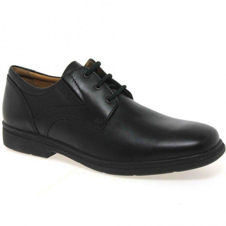 Geox J Federico A boys school shoes in black leather.
