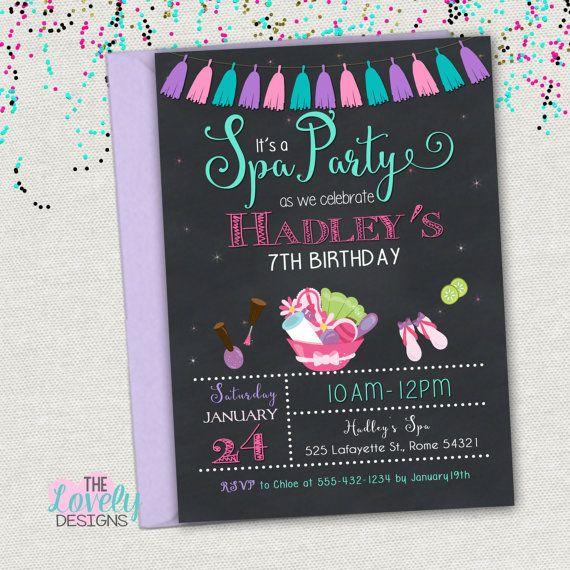 Spa Party Invitation Printable Spa Birthday Invitation Spa