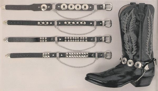BLACK *Concho* GOTHIC//PUNK FASHION Made in UK Genuine Leather BOOT STRAPS