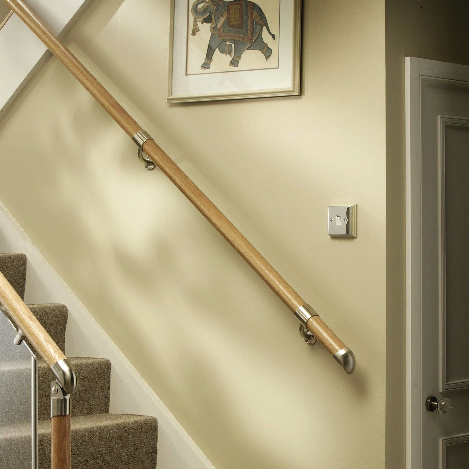Best Fusion White Oak With Brushed Nickel Connectors Handrail 400 x 300