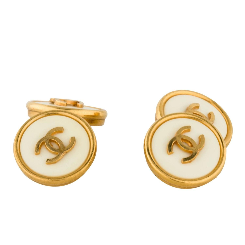 Chanel Vintage Gold Metal White Chain Link Cc Logo Charm Men S Cufflinks 1990