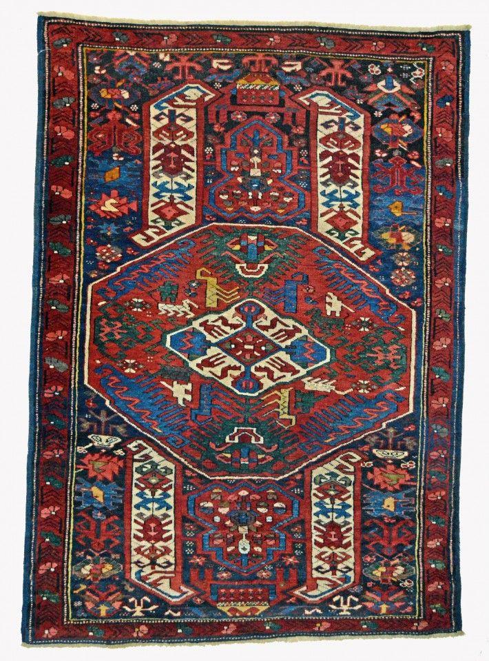 3.6 x 4.9 Antique Kuba Rug, Stylized Dragon Carpet Motifs, Northeast Caucasian, Circa 1875