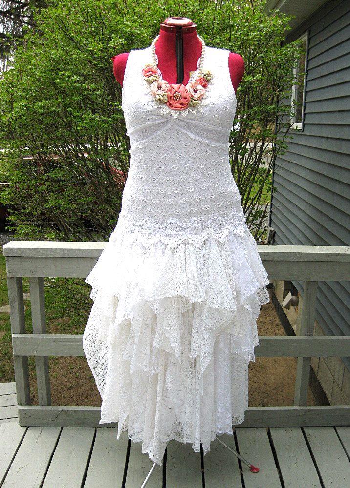 XXL White tattered wedding dress, boho bohemian hippie gypsy bride ...