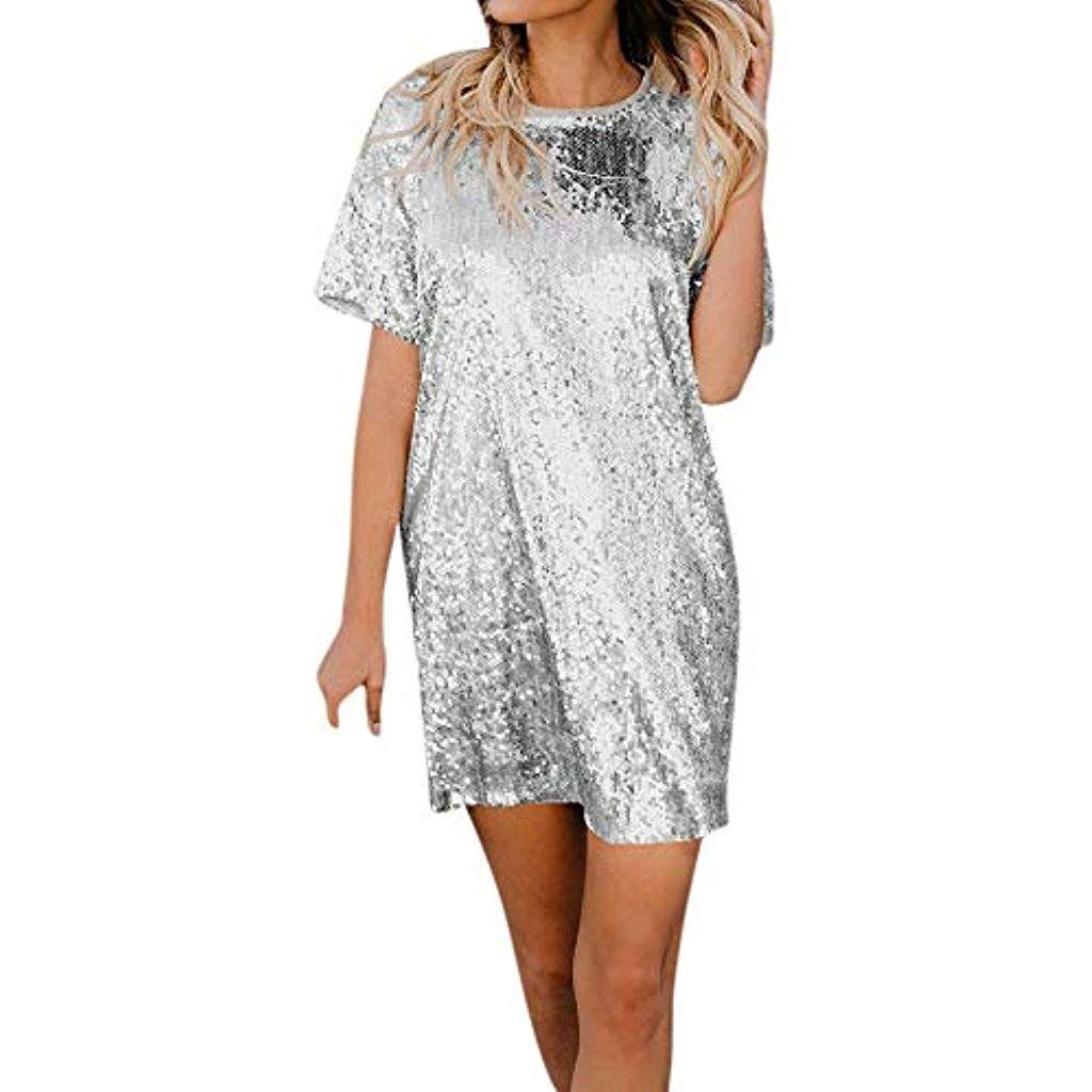 Damen Kleid Pailletten Minikleid Rundhals Paillettenkleid Knielang