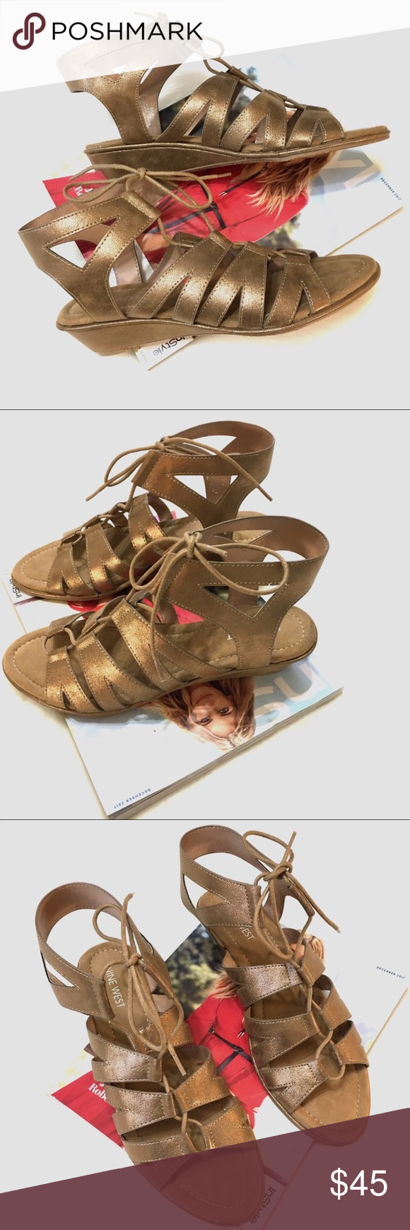 b1488e02e NINE WEST LACE-UP METALLIC GOLD WEDGES SANDALS 8.5 BRAND NEW NINE WEST  SANDALS