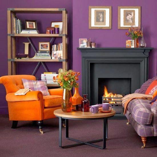 Dormitorios Con Acentos En Morado P�rpura Y Lila: Paleta De Colores De Hoy - Morado Y Naranja