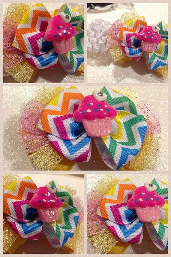 Colorful Polka Dot Cupcake Birthday Bow by HelloKourtneyBows, $5.00