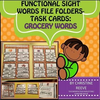 Reading Functional Sight Words Matching Materials-Grocery Life - grocery words