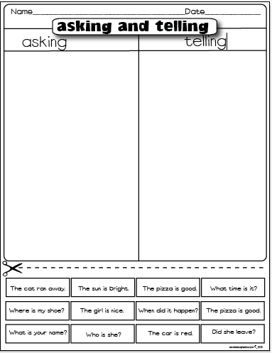 freebie asking and telling sentences first grade writing 1st grade. Black Bedroom Furniture Sets. Home Design Ideas