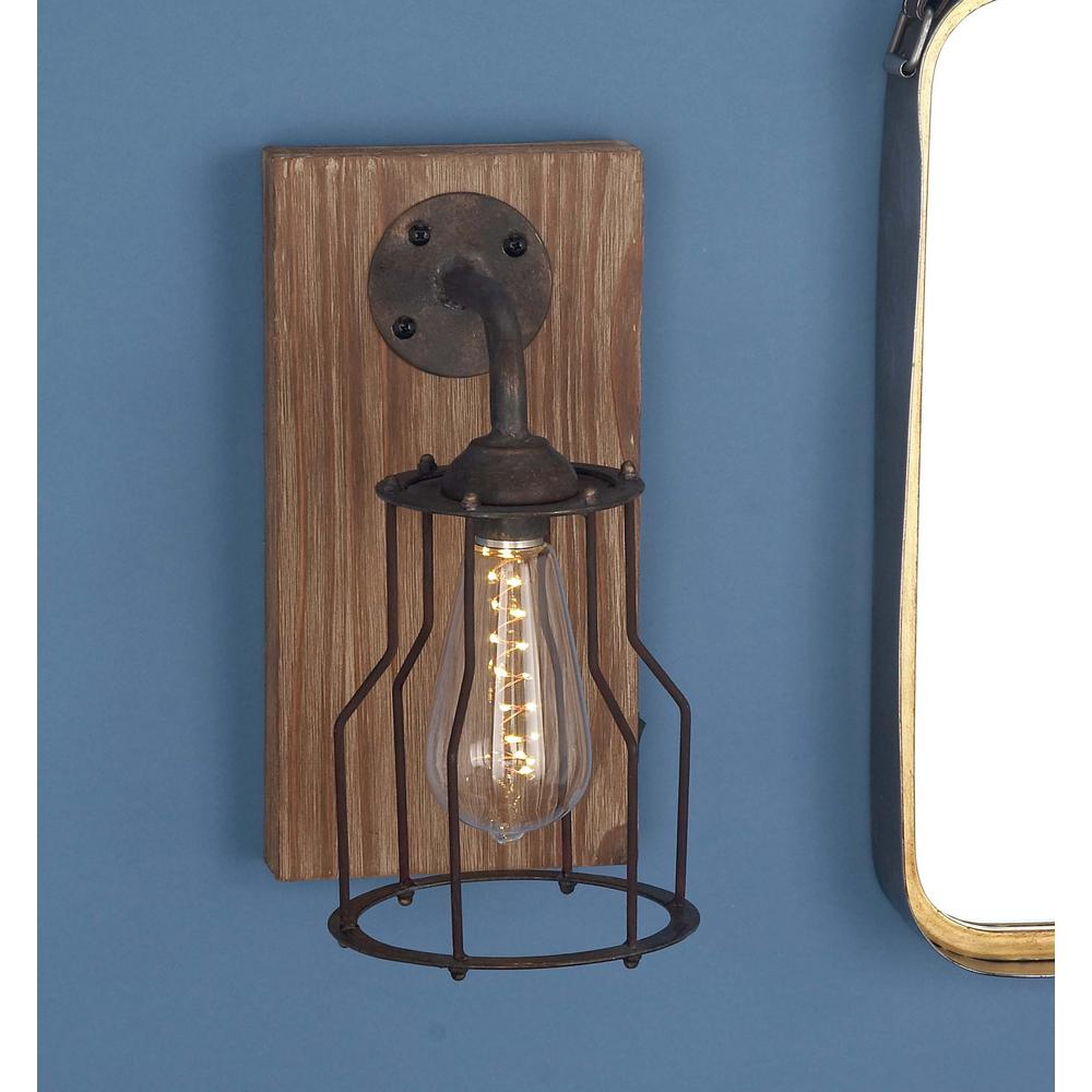 in brown wood and iron led wall sconce wall sconces iron and